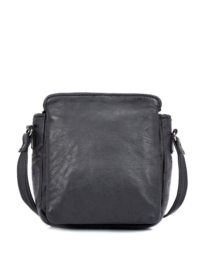 GRAIN LEATHER CROSS OVER BAG, Black, large