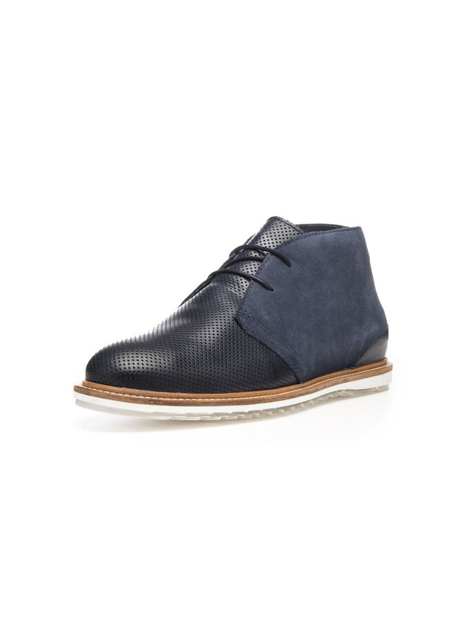 MEN'S PERFORATED BOOTS, Navy Blue, large