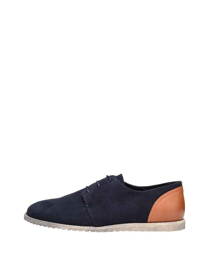 MEN'S LACED SUEDE DERBY SHOES, Navy Blue, large