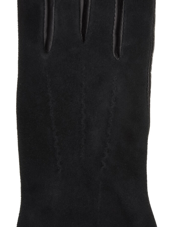 LEATHER SUEDE GLOVES, Black, large