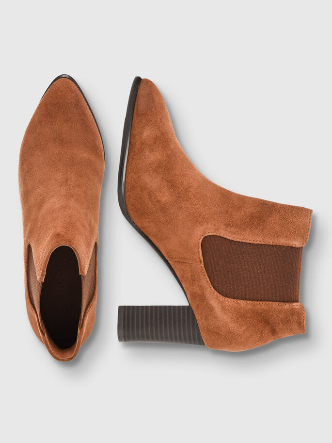 POINTY SUEDE CHELSEA BOOTS, Light Brown, large