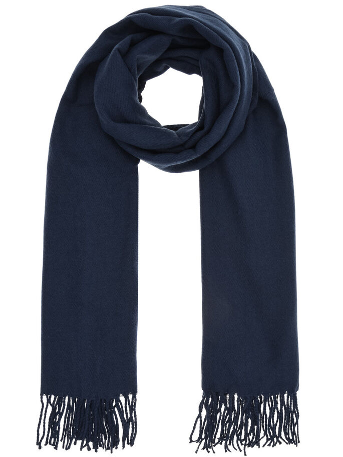 FRINGE SCARF, Navy Blue, large