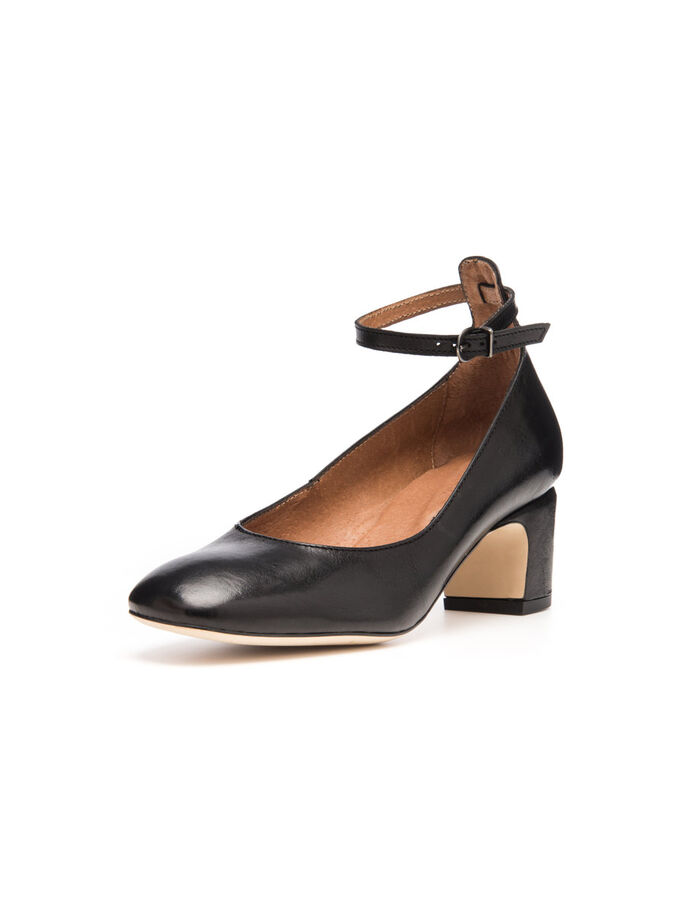 COURT W/STRAP PUMPS, Black, large