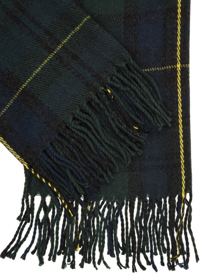 CHECK SCARF, Dark Green, large