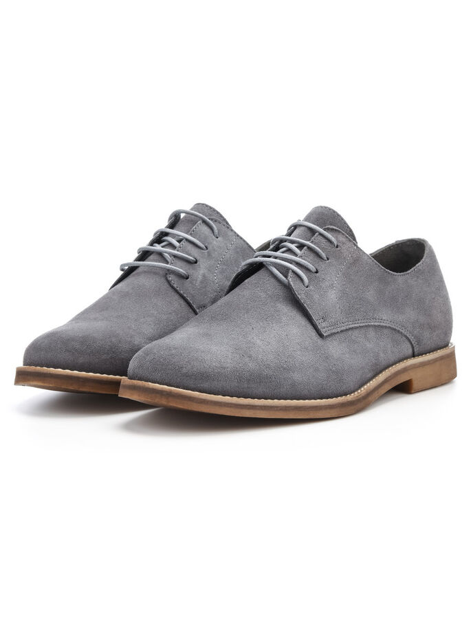 CASUAL DERBY SHOES, Grey, large
