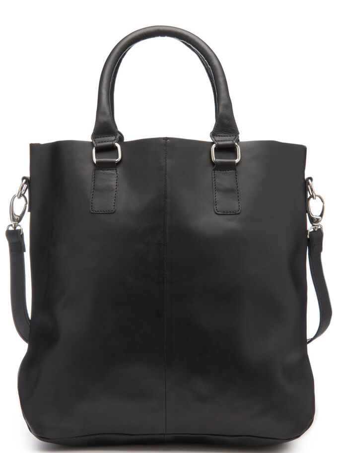 POCKET LEATHER BAG, Black, large