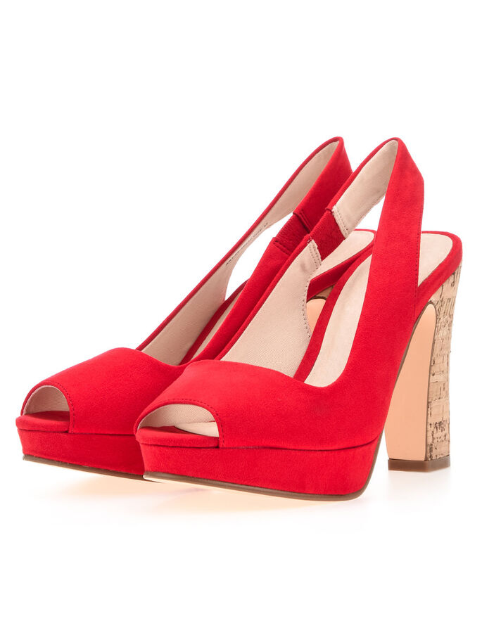 PEEPTOE SLINGBACK SHOES, Red, large