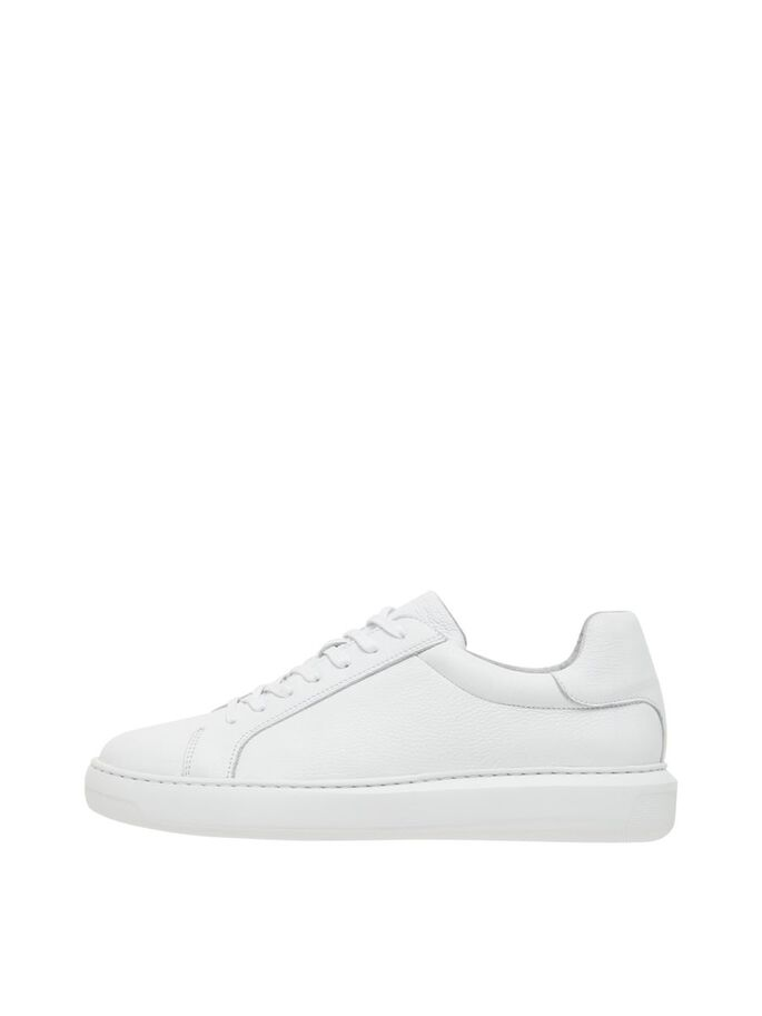 BIQUAGE BASKETS EN CUIR, White, large