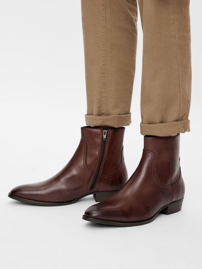 BIABECK LEATHER BOOTS, DarkBrown, large