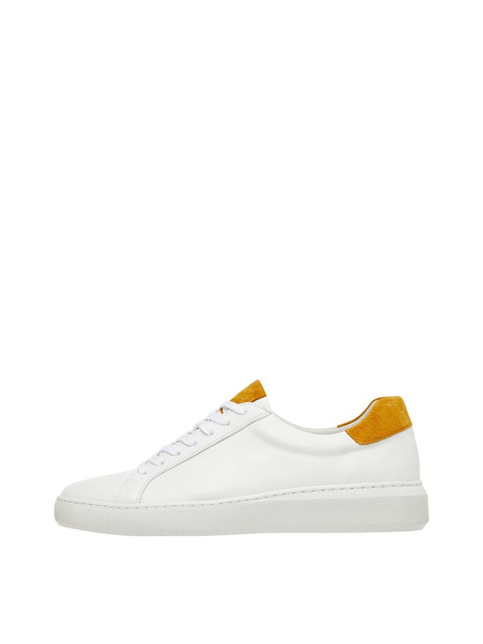 BIARICH LEATHER SNEAKERS, Mustard, large