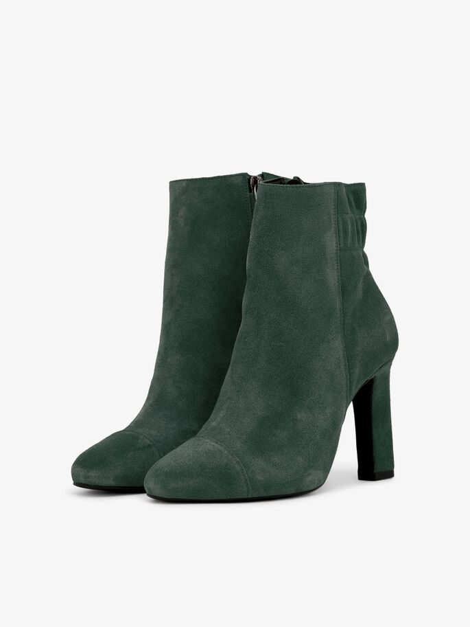 THICK HEELED SUEDE ANKLE BOOTS, Dark Green 1, large