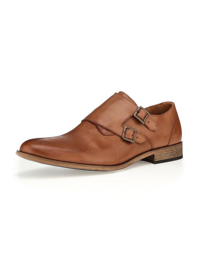 MEN'S DOUBLE MONK SHOES, Light Brown, large