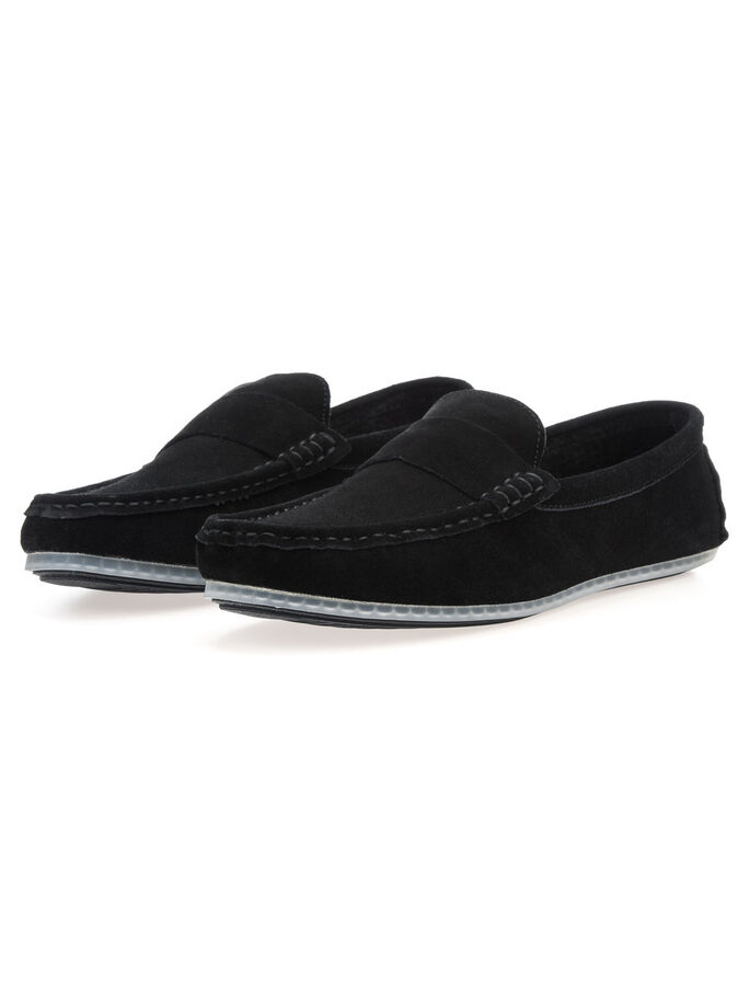 MEN'S SUEDE LOAFERS, Black, large