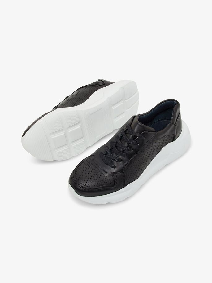 BIACALONE LEATHER SNEAKERS, Black, large