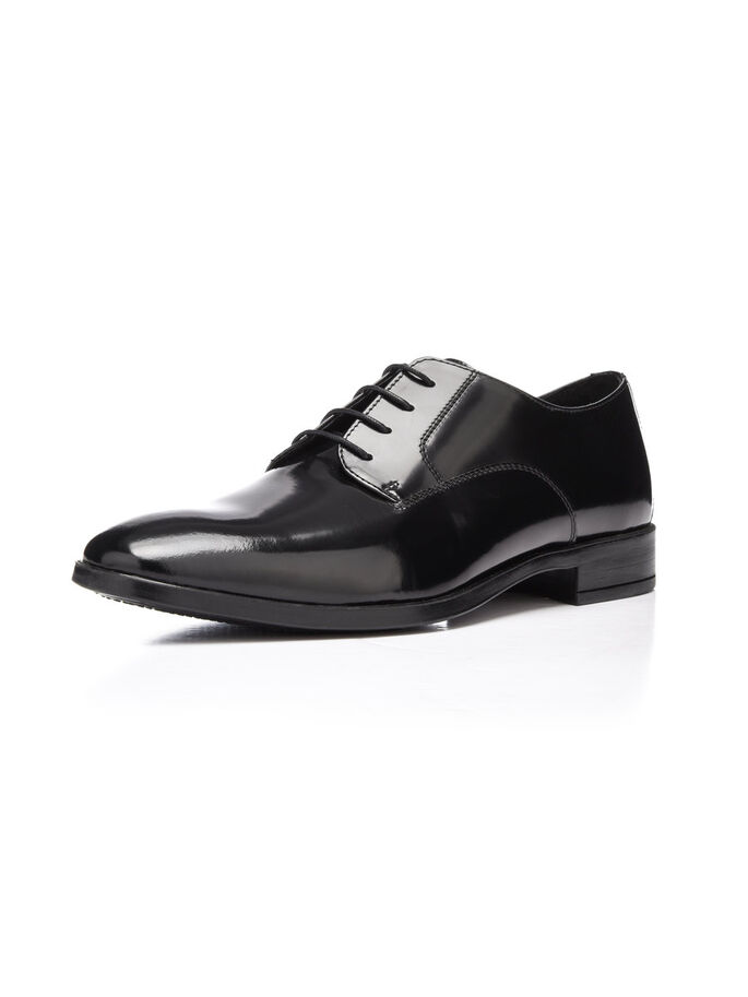 MEN'S DRESS LACED UP DERBY SHOES, Black, large
