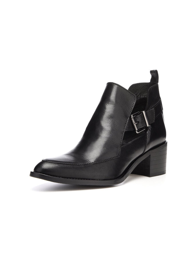 OPEN BUCKLE BOOTS, Black, large