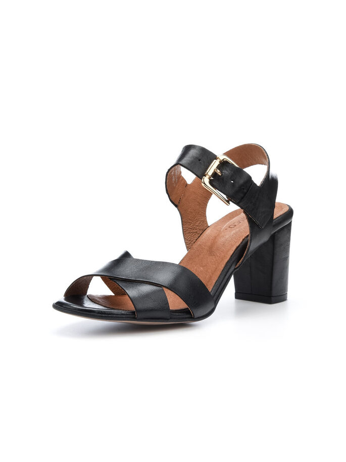 DRESSY LEATHER SANDALS, Black, large