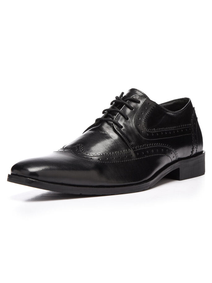 DRESS BROGUE DERBY SHOES, Black, large