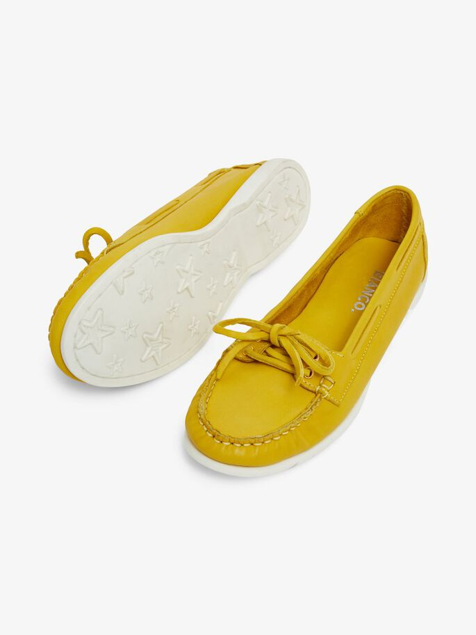 BIADANYA LEATHER LOAFERS, Yellow, large