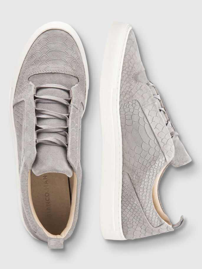 MEN'S EMBOSSED SNEAKERS, Grey, large