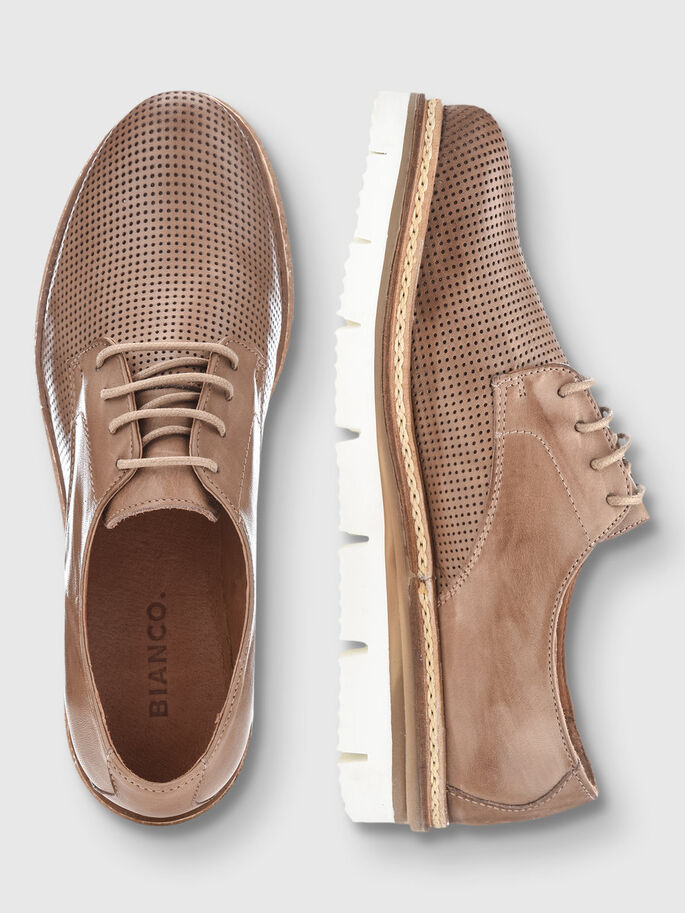CLEAVED LACED UP DERBY SHOES, Nougat, large