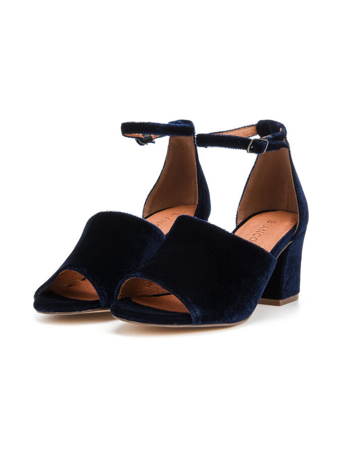 VELVET PARTY SANDALS, Navy Blue, large