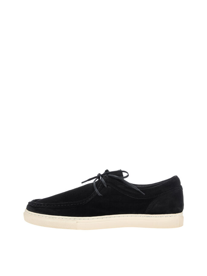 MEN'S SUEDE CAS. SHOES, Black, large