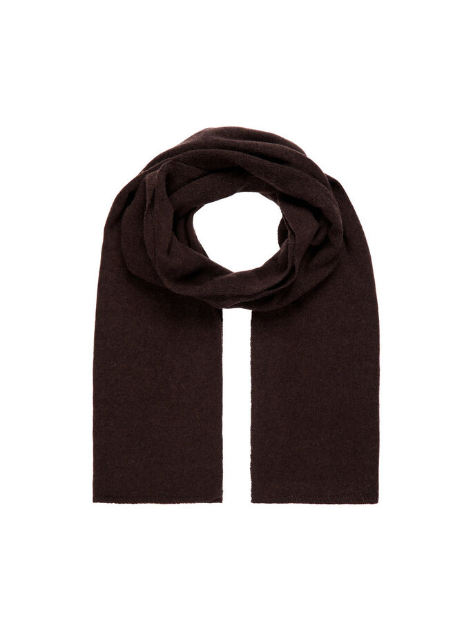 WOOLEN SCARF, Dark Brown, large