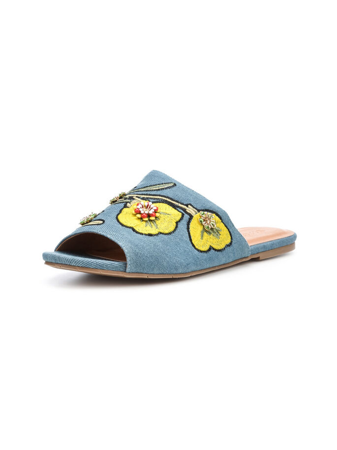 FLOWER DECO SLIP-ONS, Light denim, large