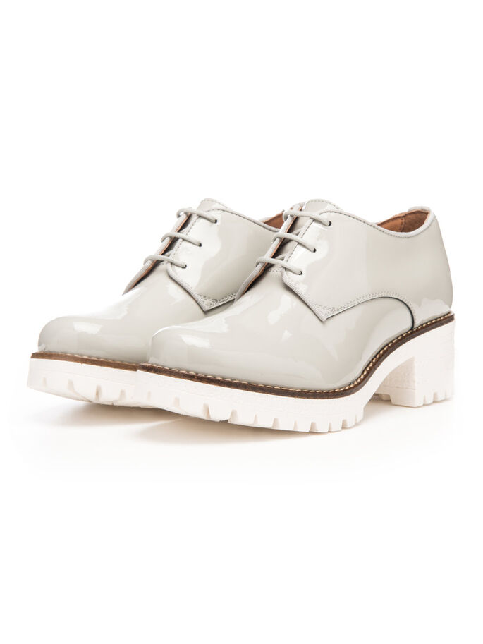 PATENT LACED UP DERBY SHOES, Grey, large