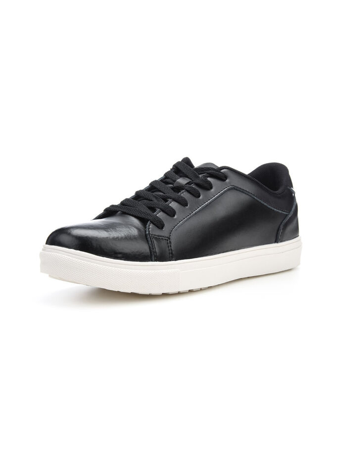 MEN'S LEATHER SNEAKERS, Black, large