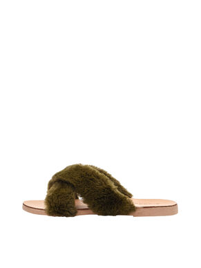 CROSS FUR SLIP-ONS