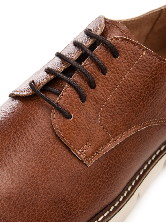 CLEATED DERBY SHOES, Light Brown, large