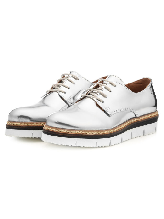 CLEAVED LACE-UP DERBY SHOES, Silver, large