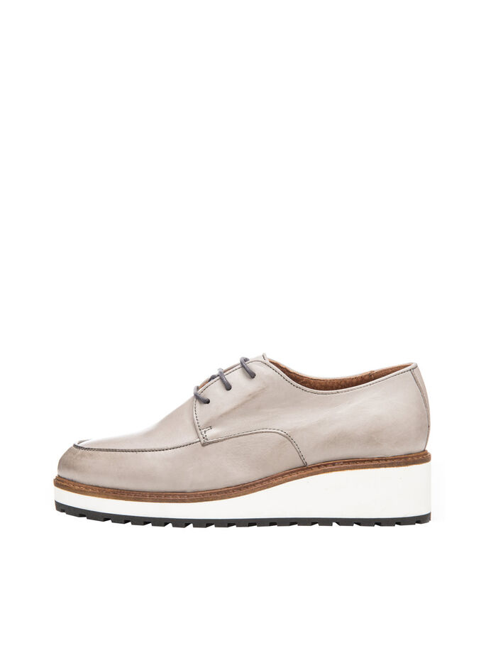 INN. WEDGE LACED UP DERBY SHOES, Grey, large