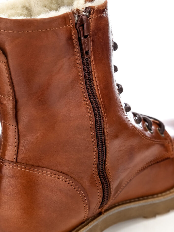 LACED UP W/WOOL BOOTS, Light Brown, large
