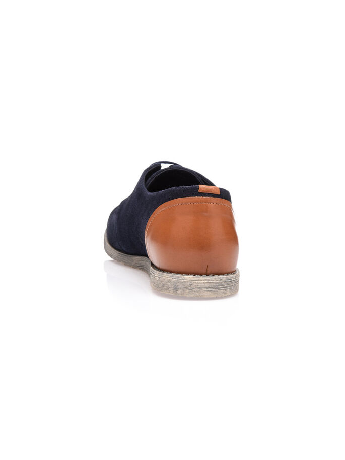 LACED SUEDE DERBY SHOES, Navy Blue, large