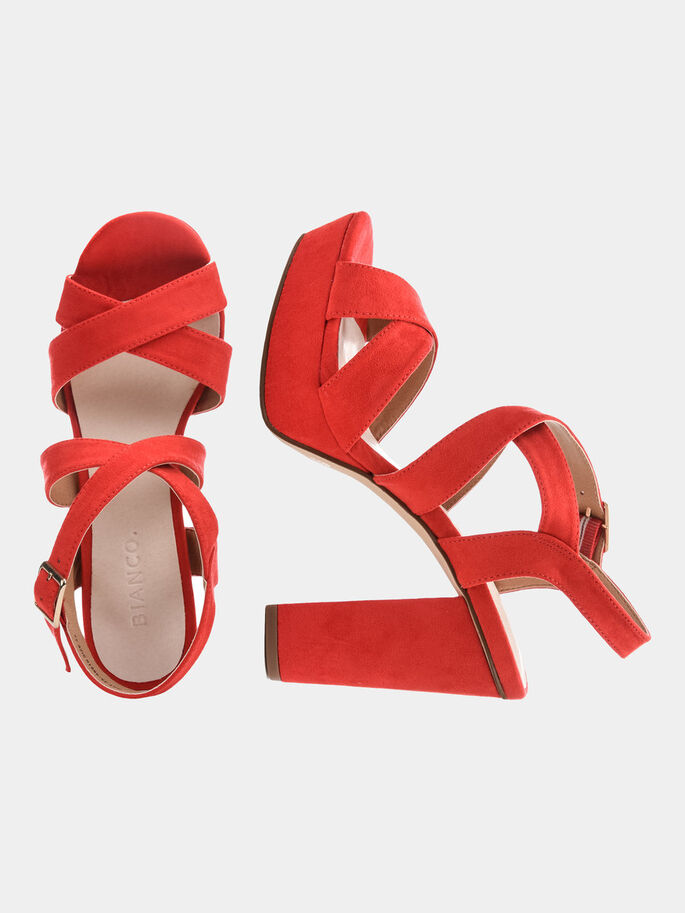 STRAP CHUNKY SANDALS, Red, large