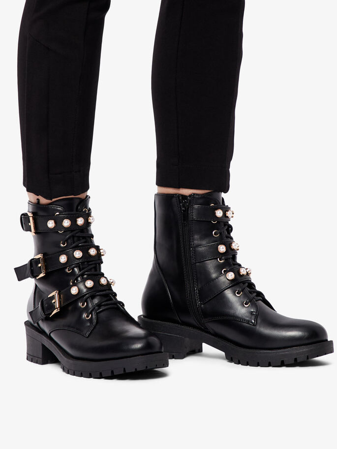 e4b1f1a2820 PEARL DETAIL BIKER ANKLE BOOTS, Black, large