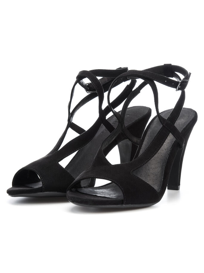 STRAP SLINGBACK SANDALS, Black, large