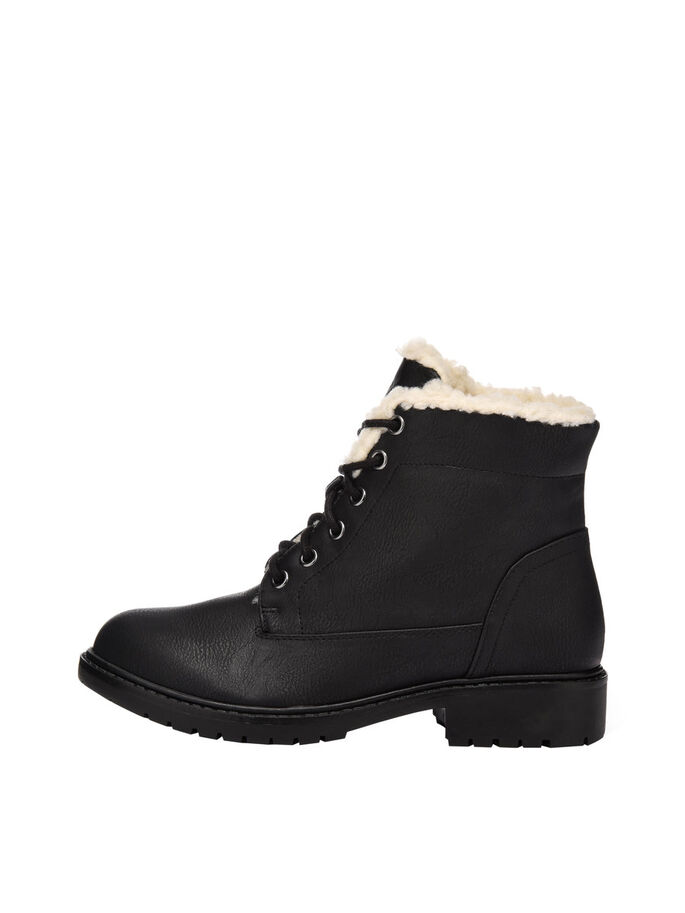LACED UP WARM BOOTS, Black, large