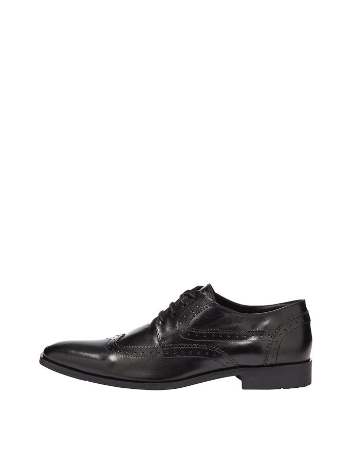 MEN'S DRESS BROGUE DERBY SHOES, Black, large