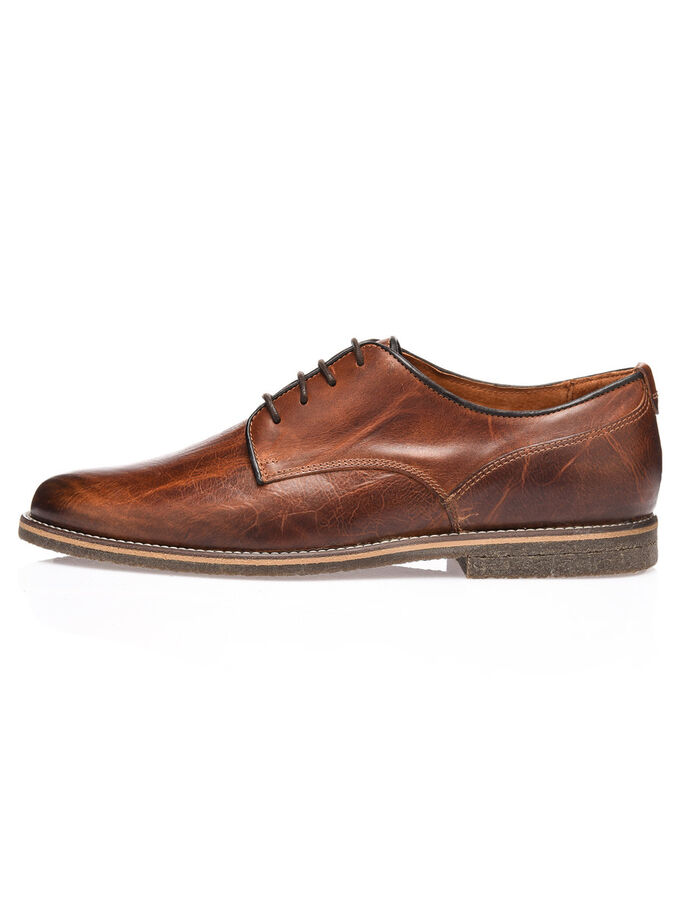 MEN'S CREPE LACED UP DERBY SHOES, Light Brown, large