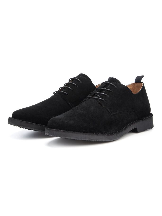 MEN'S SUEDE LACED UP, Black, large