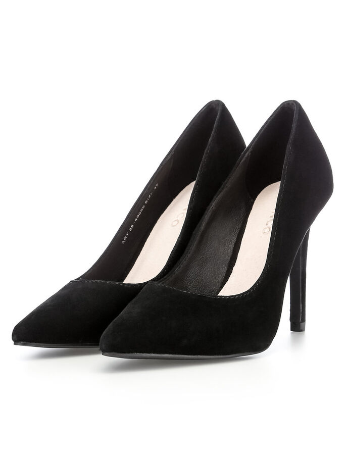 BASIC-WILDLEDER- PUMPS, Black, large