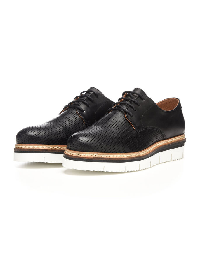 CLEAVED LACED UP DERBY SHOES, Black, large