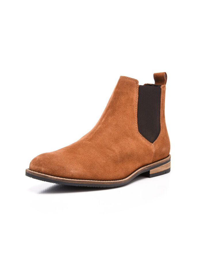 SUEDE CAS. CHELSEA BOOTS, Light Brown, large