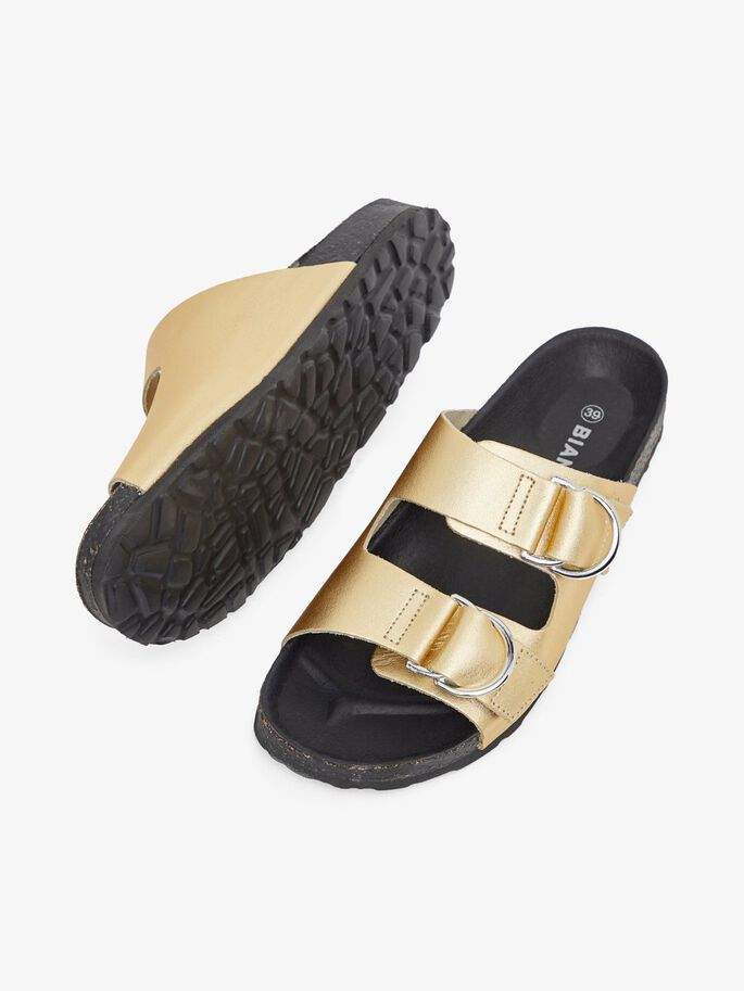 BIABETRICIA LEATHER SANDALS, Gold, large