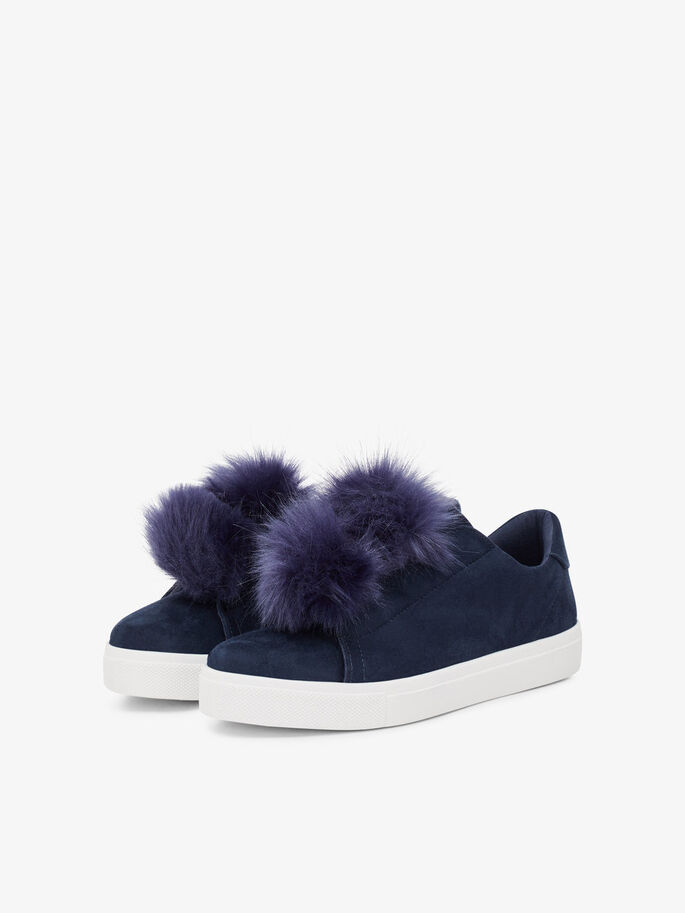 POM POM SNEAKERS, Navy Blue, large