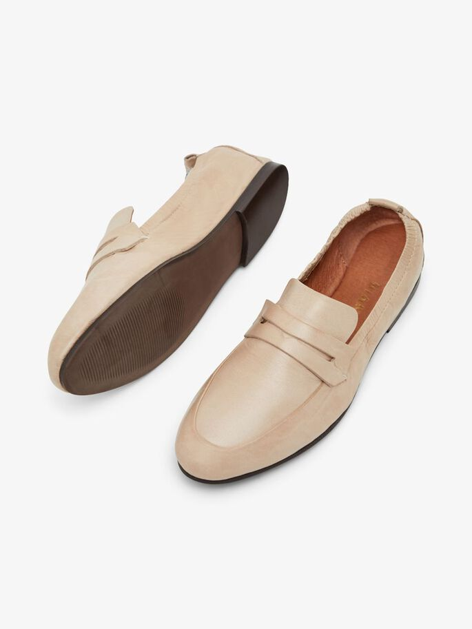 BIASTORY LEATHER LOAFERS, Natural, large
